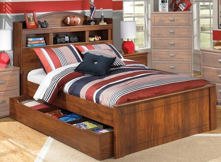 B22865848660B10012 Barchan Collection Full Size Bookcase Headboard Bookcase Bed with Trundle and Timber Cherry Grain in Warm