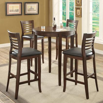Dwight II Collection CM3988BT4BC 5-Piece Dining Room Set with Round Bar Table and 4 Bar Side Chairs in Brown