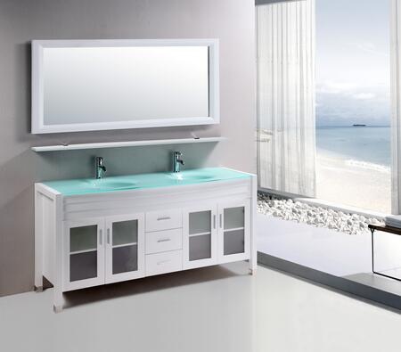 8120-WHITE Amriel 59 inch  Double Vanity In White With Glass Vanity Top In Aqua And