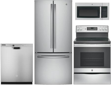 "4-Piece Kitchen Package With GNE21FSKSS 30"""" French Door Refrigerator  JB655SKSS 30"""" Freetanding Electric Range  JVM3160RFSS 30"""" Over the Range Microwave Oven"" 841754"