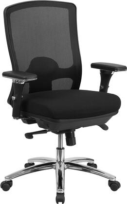 LQ-2-BK-GG HERCULES Series 24/7 Intensive Use  Multi-Shift  Big & Tall 350 lb. Capacity Black Mesh Multi-Functional Swivel Chair with