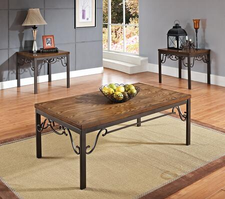 Barry Collection 80288 3 PC Living Room Table Set with Coffee Table  2 End Tables  Ash Veneer Top and Metal Stand in Oak and Dark Bronze