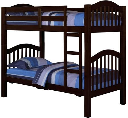 Heartland Collection 02554 Twin Over Twin Bunk Bed with Right Facing Front Ladder  Easy Access Guard Rail  Slat System Included and Wood Veneer Materials in