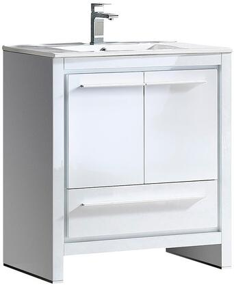Allier FCB8130WH-I 30 inch  Single Sink Vanity with 1 Soft Closing Drawer  2 Soft Closing Doors and Integrated Sink in