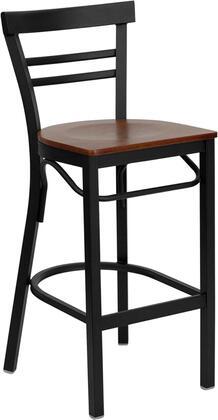 XU-DG6R9BLAD-BAR-CHYW-GG HERCULES Series Black Ladder Back Metal Restaurant Bar Stool - Cherry Wood
