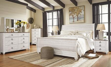 Willowton King Bedroom Set with Sleigh Bed  Dresser  Mirror and Single Nightstand in Whitewashed