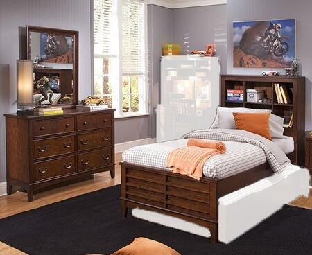Chelsea Square Collection 628-YBR-TBBDM 3-Piece Bedroom Set with Twin Bookcase Bed  Dresser and Mirror in Burnished Tobacco