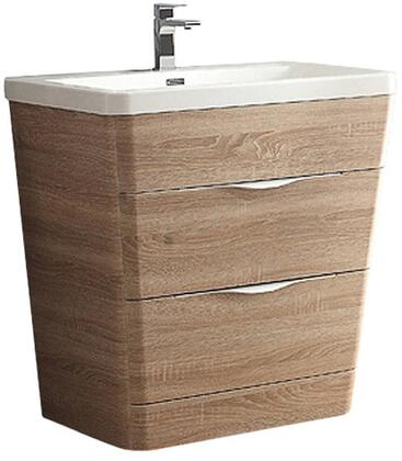 Milano Collection FCB8532WK-I 32 inch  Single Vanity with Integrated Acrylic Sink  2 Soft Closing Drawers and Tapered Shaped in White