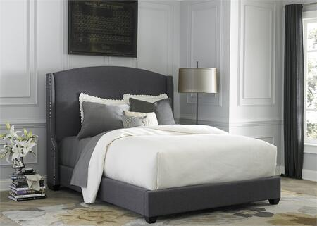 150-BR-KSH King Shelter Bed with Nail Head Trim  Fabric Upholstery and Tapered Block Feet in Dark