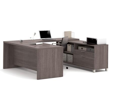 120861-47 Pro-Linea U-Desk Scratch and Stain Resistant Surface  Simple Pulls and Block Legs in Bark