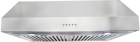 UC30-CFM 30 inch  Under Cabinet Range Hood with 380 CFM  Push Button Controls  3 Fan Speeds  Permanent Filters and LED Lighting  in Stainless