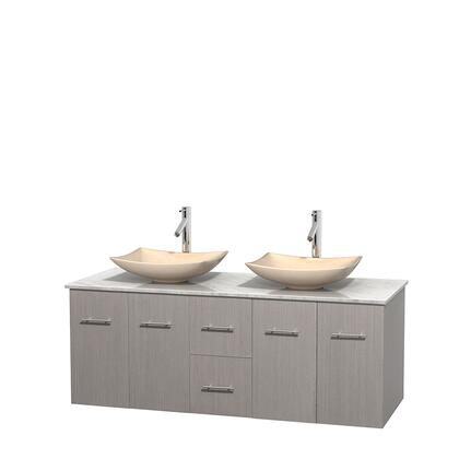 Wcvw00960dgocmgs5mxx 60 In. Double Bathroom Vanity In Gray Oak  White Carrera Marble Countertop  Arista Ivory Marble Sinks  And No