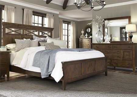 Hearthstone Collection 382-BR-KPBDMC 4-Piece Bedroom Set with King Panel Bed  Dresser  Mirror and Chest in Rustic Oak