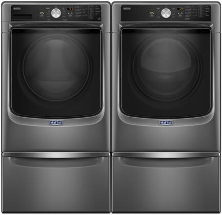 Metallic Slate Front Load Laundry Pair with MHW5500FC 27 inch  Washer  MED5500FC 27 inch  Electric Dryer and 2 XHPC155YC