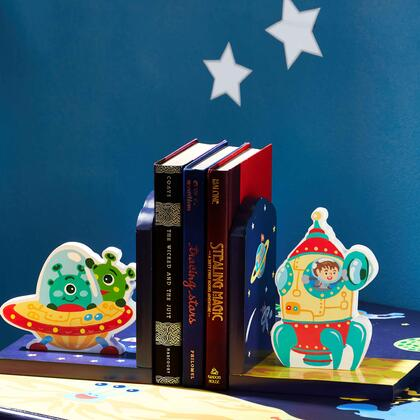 TD12226A Outer Space Hand Crafted Kids Bookends Set
