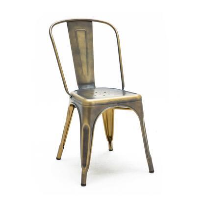LS-9000-2-VBRA Dreux Vintage Brass Steel Stackable Side Chair (Set Of
