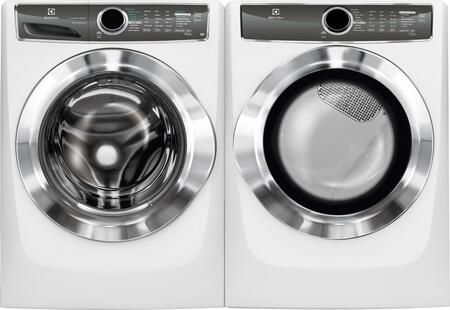 "White Front Load Laundry Pair with EFLS617SIW 27"""" Washer  EFMG617SIW 27"""" Gas Dryer and 2 EPWD157SIW"" 691290"