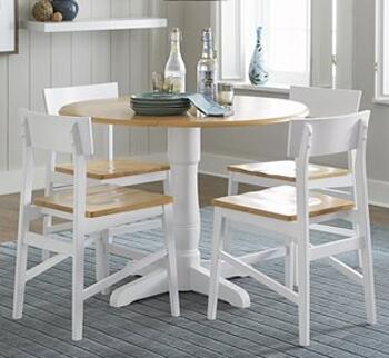 Christy Collection D878-ROUNDT4SC 5-Piece Dining Room Sets with Round Dining Table and 4 Side Chairs in Light Oak and