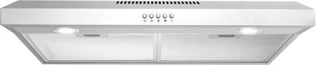 COS-5U30 30 inch  Under Cabinet Range Hood with 250 CFM  3 Speed Push Button Control  2 LED Lighting  Aluminum Filters and Ultra Quiet Operation  in Stainless