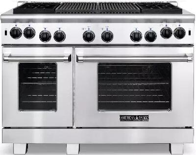"""ARR-484X2GR-L 48"""" Heritage Series Liquid Propane Range with 4.4 cu. ft. 30"""" Oven Capacity  2.4 cu. ft. 18"""" Oven Capacity  22"""" Grill  4 Sealed Burners and"""