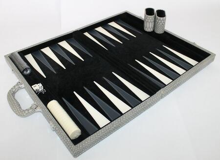 CRO201DG 18 inch  Backgammon Set with Plush Black Velvet Inlay  Instructions  Dice  Playing Cups  and Chips: Faux Crocodile Dark