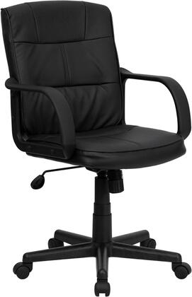 GO-228S-BK-LEA-GG Mid-Back Black Leather Office Chair with Nylon