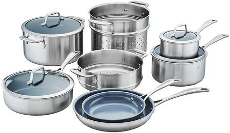 Zwilling 64080-002 Spirit 3-Ply 12-Pc Stainless Steel Ceramic Nonstick Cookware