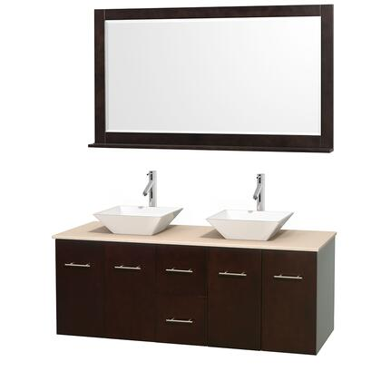 Wcvw00960desivd2wm58 60 In. Double Bathroom Vanity In Espresso  Ivory Marble Countertop  Pyra White Porcelain Sinks  And 58 In.