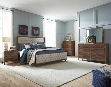 Cresswell Collection 988-51-54-53-5PCSET 5-Piece Bedroom Set with Queen Size Upholstered Panel Bed  Dresser  Mirror  Nightstand and Chest in