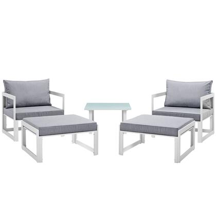 Fortuna Collection Eei-1721-whi-gry-set 5-piece Outdoor Patio Sectional Sofa Set With Side Table  2 Ottomans And 2 Single Sofas In White And