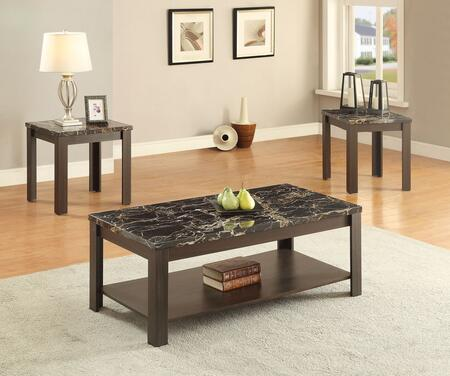 Afton Collection 82138 3 PC Living Room Table Set with 2 Square End Tables  Rectangular Coffee Table  Straight Legs and Black Faux Marble Top in Walnut
