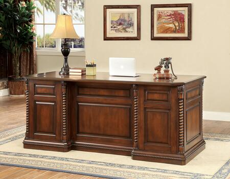 Vicki CM-DK6380D Writing Desk with Traditional Style  Ornate Rope-like Design  Multiple Drawers  Solid Wood  Wood Veneer  Others* in Dark
