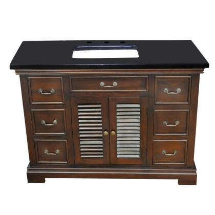 YVGD48SVWAL 48 inch  Single Vanity with Black Granite Top  1 Cabinet and 6 Side Drawers in Walnut Cabinet