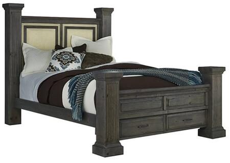 Fordham B648-94-95-99-78 King Upholstered Bed with Headboard  Footboard  Side Rails and Drawer Box in Ash