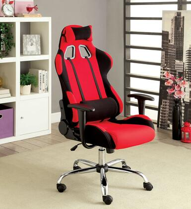 Helium CM-FC633RD Office Chair with Contemporary Style  Racing Inspired Design  Adjustable Back Rest  Chrome Legs in