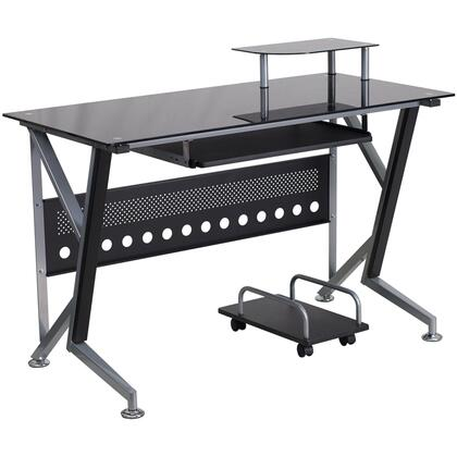 NAN-WK-059-GG Black Glass Computer Desk with Pull-Out Keyboard Tray and CPU