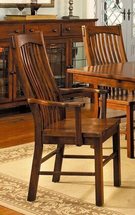 LAUOA276K Laurelhurst Slatback Arm Chair  Contoured Solid Wood Seat  Mission Oak