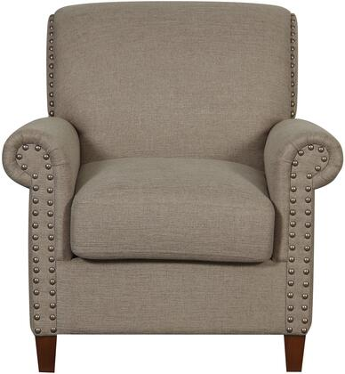 DS-D030004-479 Traditional Roll Arm Accent Chair with Tapered Legs  Gently Sloping Back and Rolled Arms in Lunar