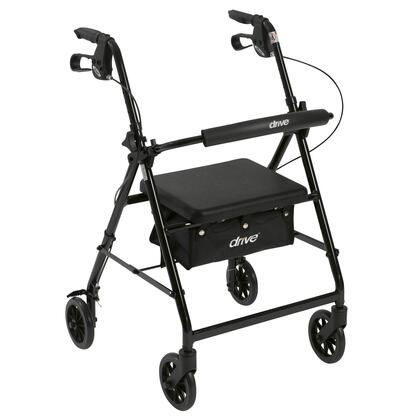 r726bk Walker Rollator With 6 Wheels  Fold Up Removable Back Support And Padded Seat