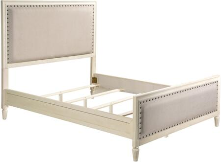 Cambridge LUX-Q2501-WHT Queen Platform Bed with Turned Legs  Nail Head Accents and Fabric Upholstery in