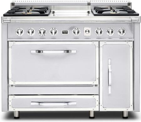 """TVDR480-4GAW 48"""" Tuscany Series Professional Dual Fuel Range with 4 Sealed Burners and a Griddle  Dual Ovens  Storage Drawer and Porcelain Coated Cast Iron"""
