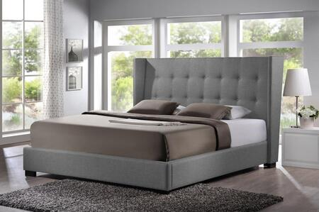 Baxton Studio BBT6386-Queen-Grey-DE800 (B-62) Favela Modern Platform Queen Size Bed with Wooden Frame  Polyurethane Foam Padding and Upholstered Button Tufted