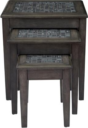 Grey Mosaic Collection 1798-7 3 PC Nesting Tables with Mosaic Tile Insert  Tapered Legs and Solid Wood Construction in Dark Grey