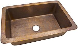 CF163AN Solid Hand Hammered Copper 32 inch  X 21 inch  Large Single Bowl Drop-In / Undermount Sink in Antique Copper