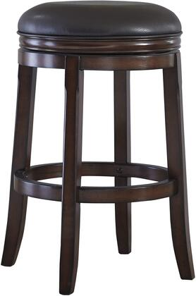 D697-330 Porter Stool with 360-Degree Swivel  Brown Faux Leather Upholstery and Cherry-Tone Finished