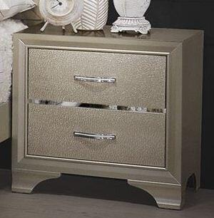 Beaumont 205292 24 inch  Nightstand with English Dovetail Drawer Construction  English Dovetail Drawer Construction and Polished Chrome Pull Handles in Champagne