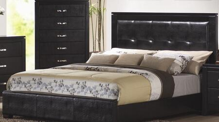 Dylan Collection 201401Q Queen Size Panel Bed with Faux Leather Upholstery  Low Profile  High Headboard  Selected Hardwoods and Veneers Construction in Black
