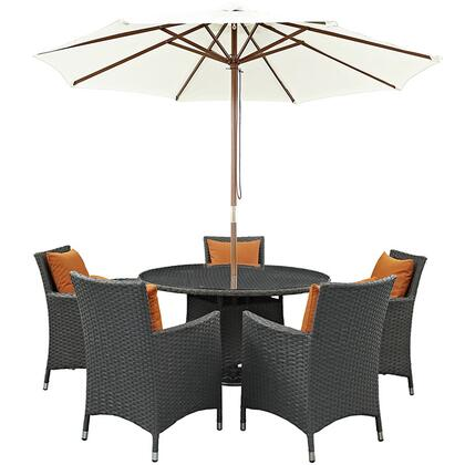 Sojourn Collection EEI-2246-CHC-TUS-SET 7-Piece Outdoor Patio Sunbrella Dining Set with 5 Armchairs  Dining Table and Patio Umbrella in Canvas