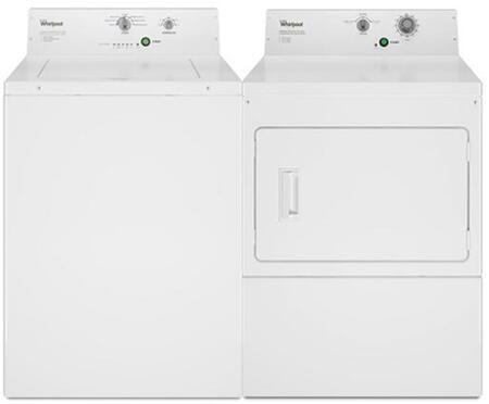 "White Top Load Commercial Non-Coin Laundry Pair with CAE2795FQ 27"""" Washer and CEM2795FQ 27"""" Electric"" 799666"