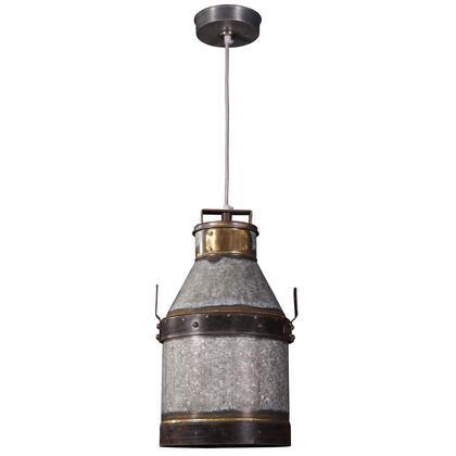 93046GI Cudahy 1 Light Pendant in Galvanized Iron Finish with Bronze